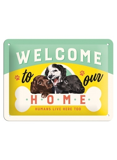 Nostalgic Art Welcome Puppies Metal Pano Renkli